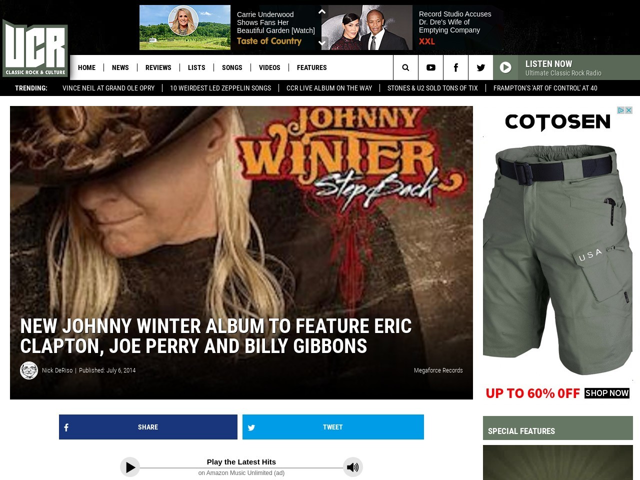 New Johnny Winter Album To Feature Eric Clapton, Joe Perry and Billy Gibbons