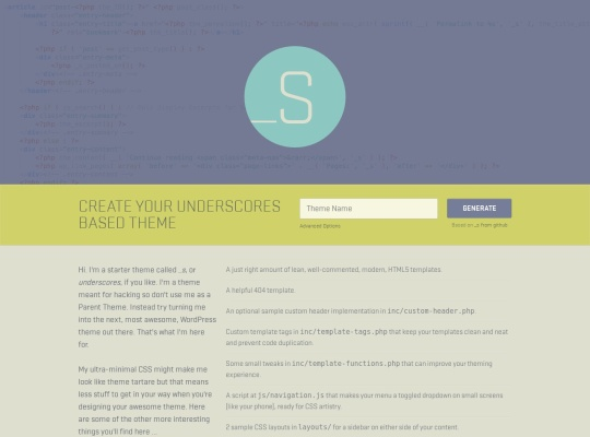 Underscores | A Starter Theme for WordPress