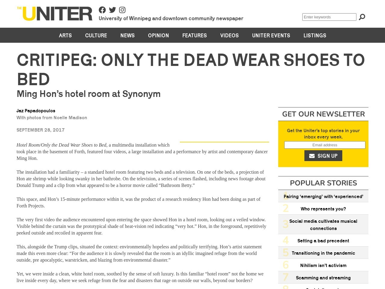 Critipeg: Only the dead wear shoes to bed