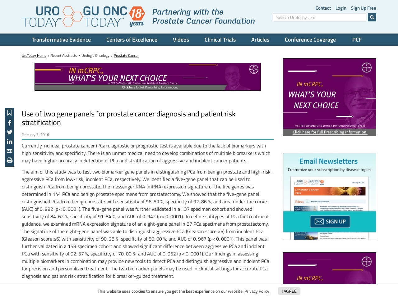 Use of two gene panels for prostate cancer diagnosis and patient risk …