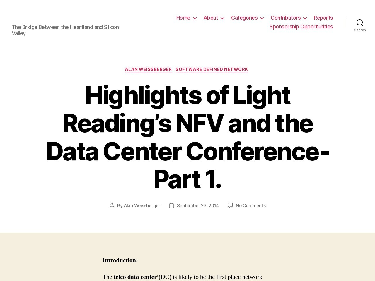 Highlights of Light Reading's NFV and the Data Center Conference-Part 1.