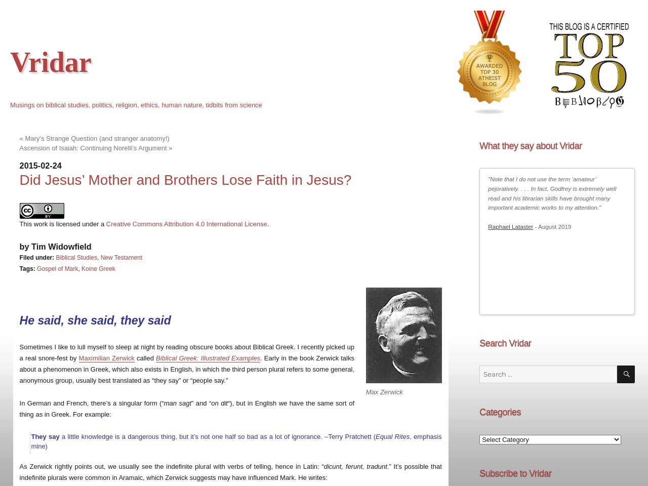 Vridar » Did Jesus' Mother and Brothers Lose Faith in Jesus?