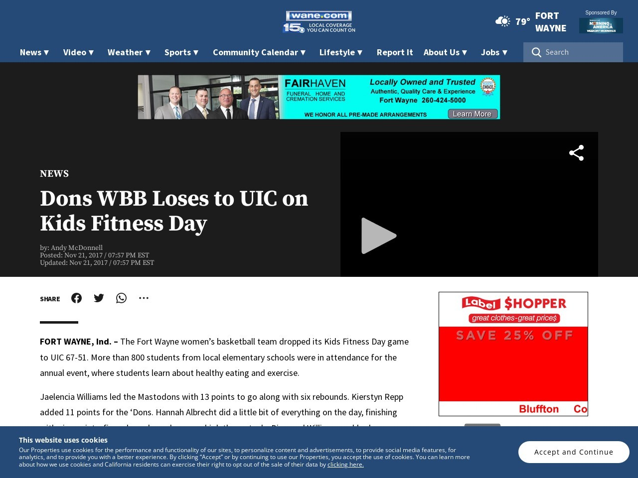 Dons WBB Loses to UIC on Kids Fitness Day