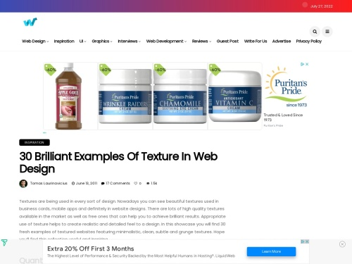 http://webdesignledger.com/inspiration/30-brilliant-examples-of-texture-in-web-design#more-25220