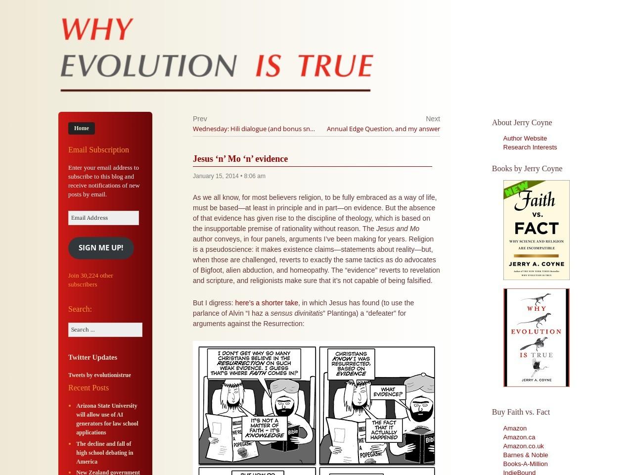 Jesus 'n' Mo 'n' evidence « Why Evolution Is True