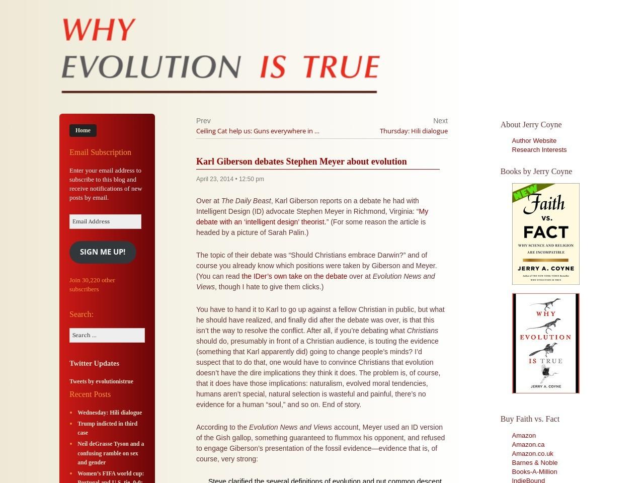 Karl Giberson debates Stephen Meyer about evolution …