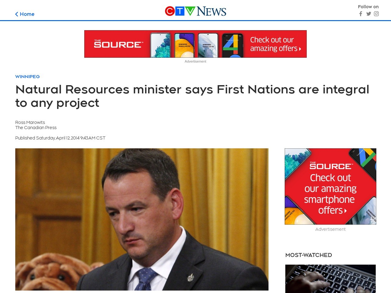 Natural Resources minister says First Nations are integral to any project