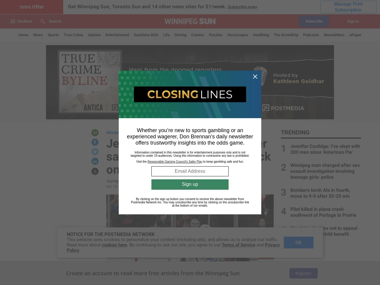 Jets' Morrissey to have player safety hearing for cross-check on Staal