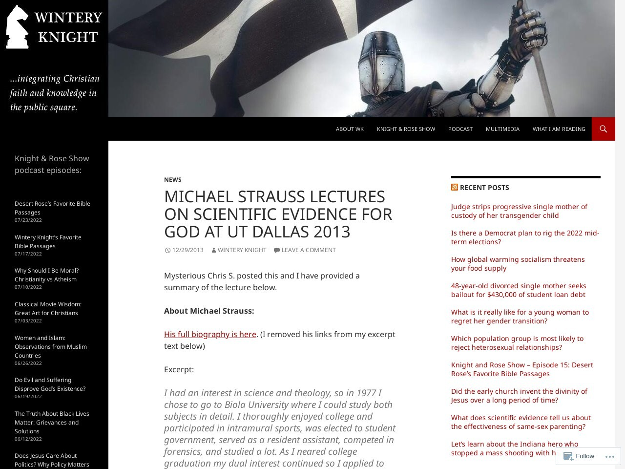 Michael Strauss lectures on scientific evidence for God at UT Dallas …