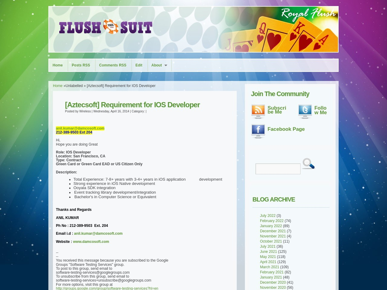 Wireless: [Aztecsoft] Requirement for IOS Developer