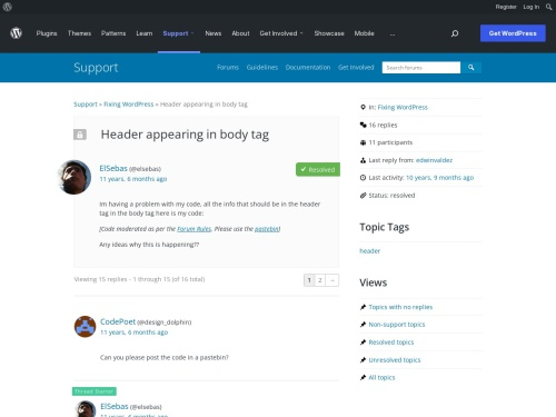 WordPress › Support » Header appearing in body tag