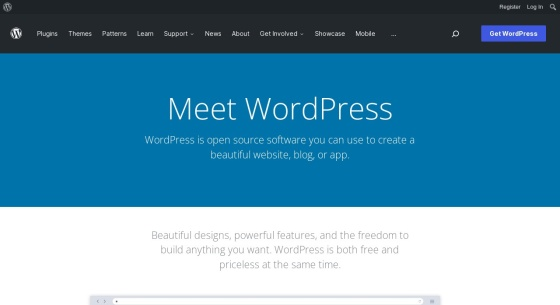 Screenshot von wordpress.org