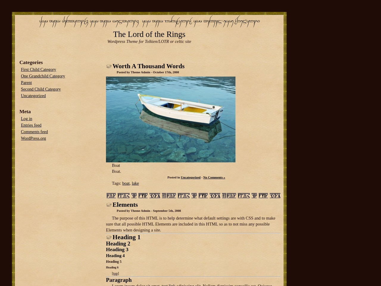 The Lord of the Rings WordPress Theme