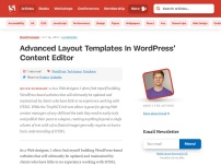 Advanced Layout Templates In WordPress' Content Editor