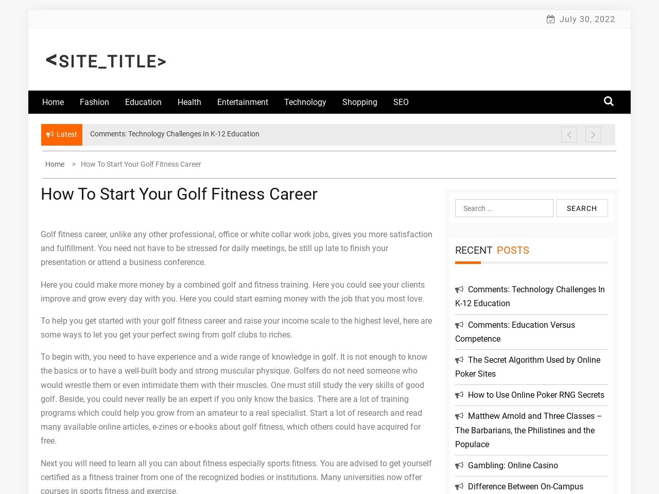 How To Start Your Golf Fitness Career