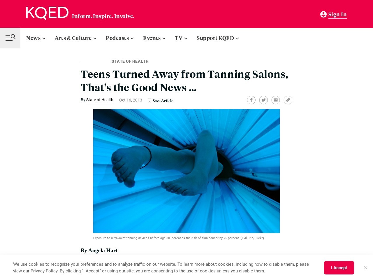 Teens Turned Away from Tanning Salons, That's the Good …