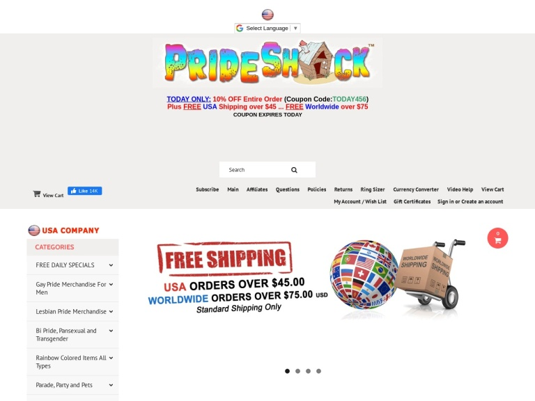 ZZ - Pride Shack Coupon Codes