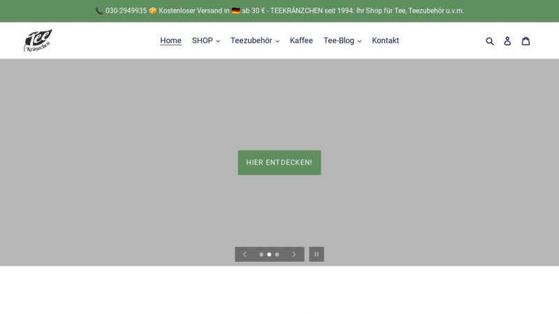 www.Teekraenzchen.eu Vorschau, Teekränzchen - Ihr freundlicher Teefachhändler in Berlin