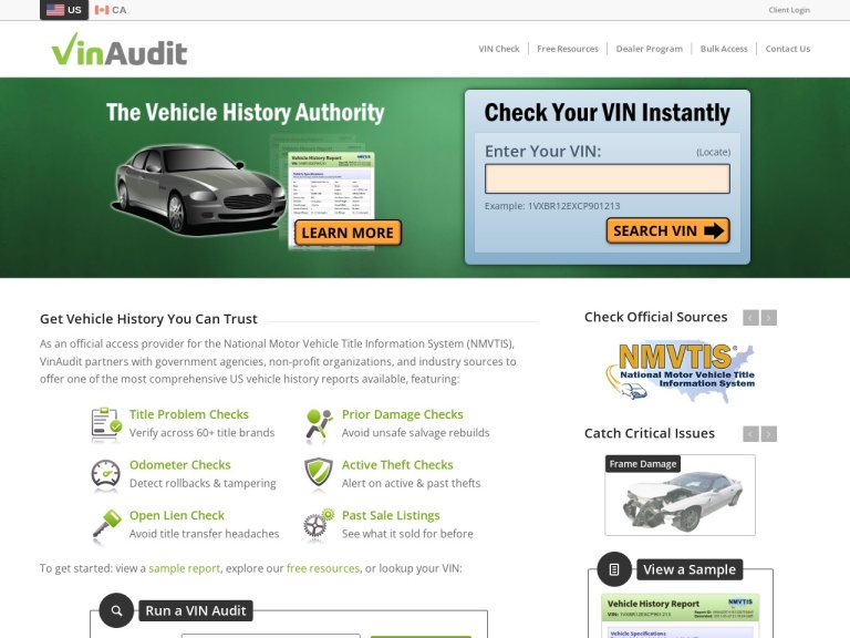 Vinaudit.com screenshot