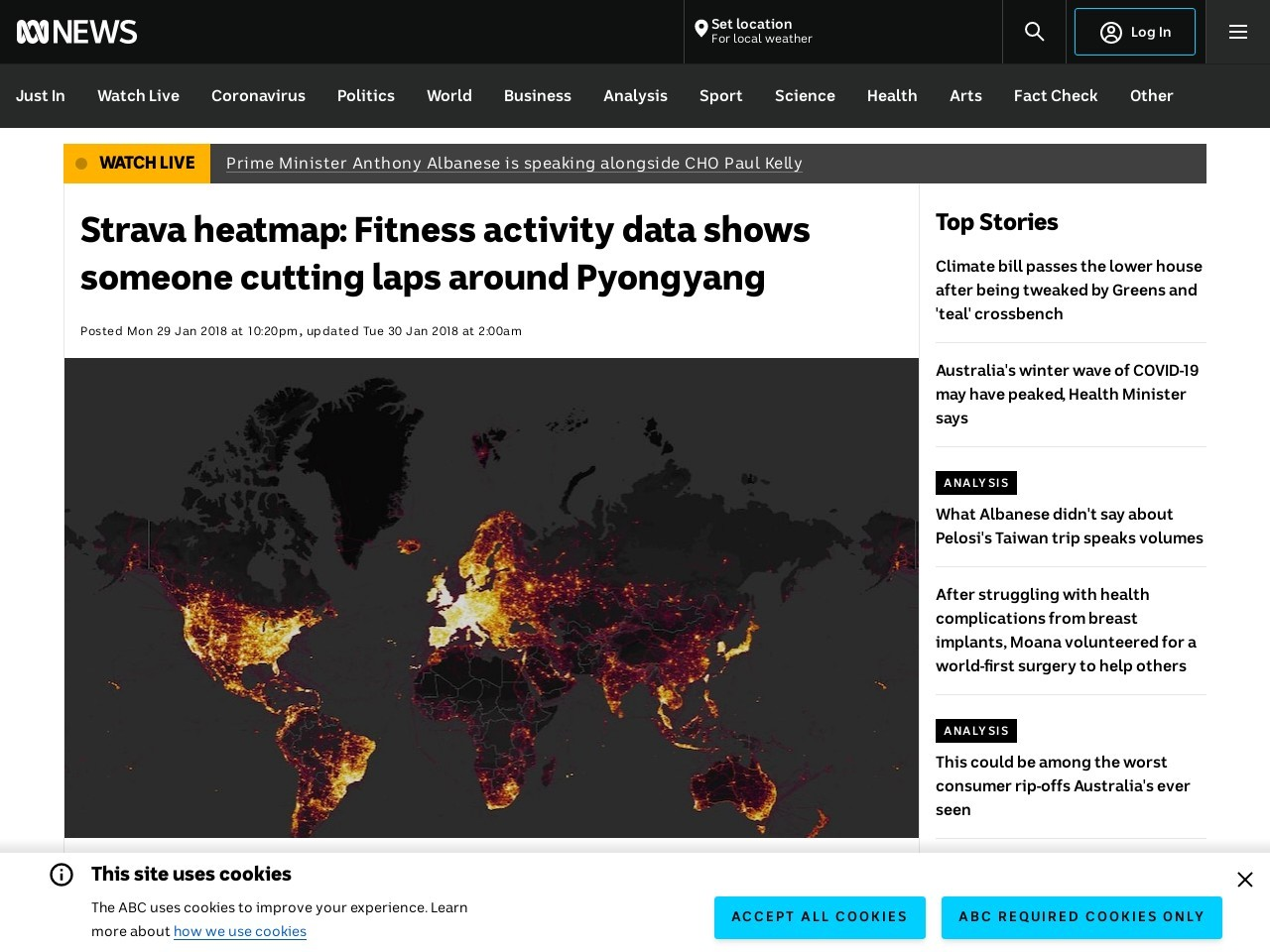 Strava heatmap: Fitness activity data shows someone cutting laps…