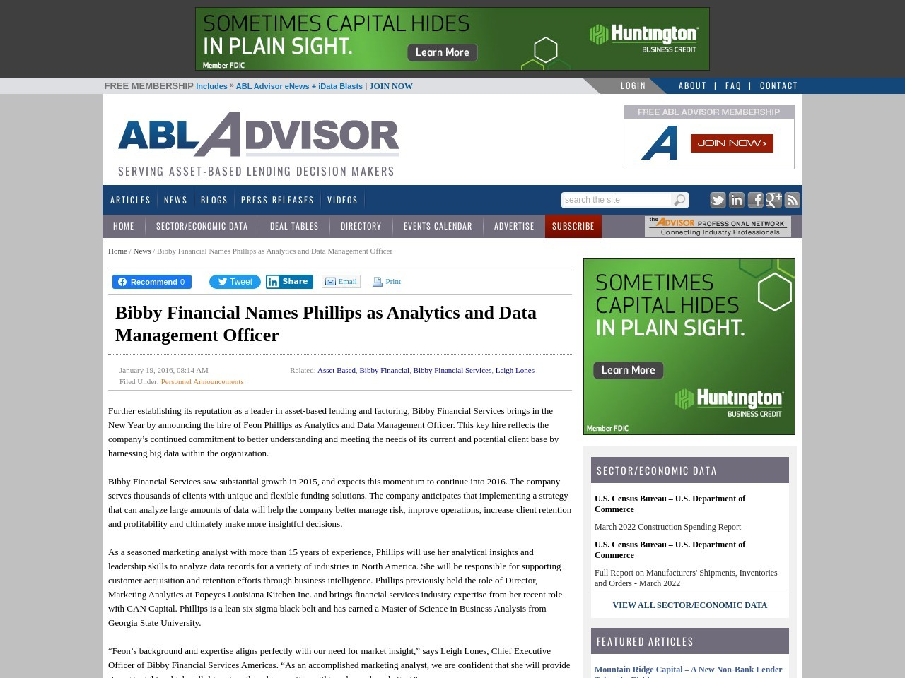 Bibby Financial Names Phillips as Analytics and Data Management Officer