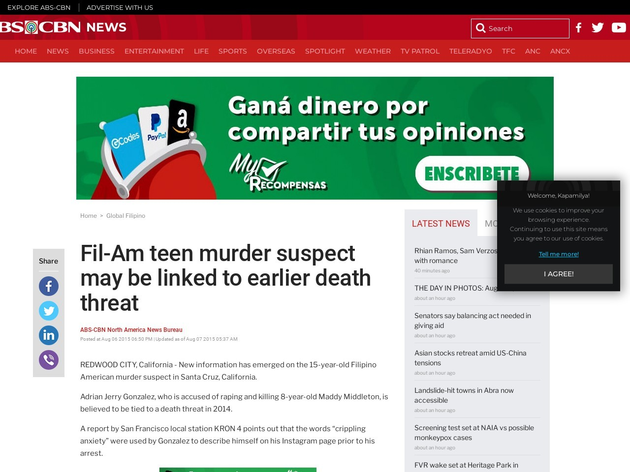 Fil-Am teen murder suspect may be linked to earlier death threat