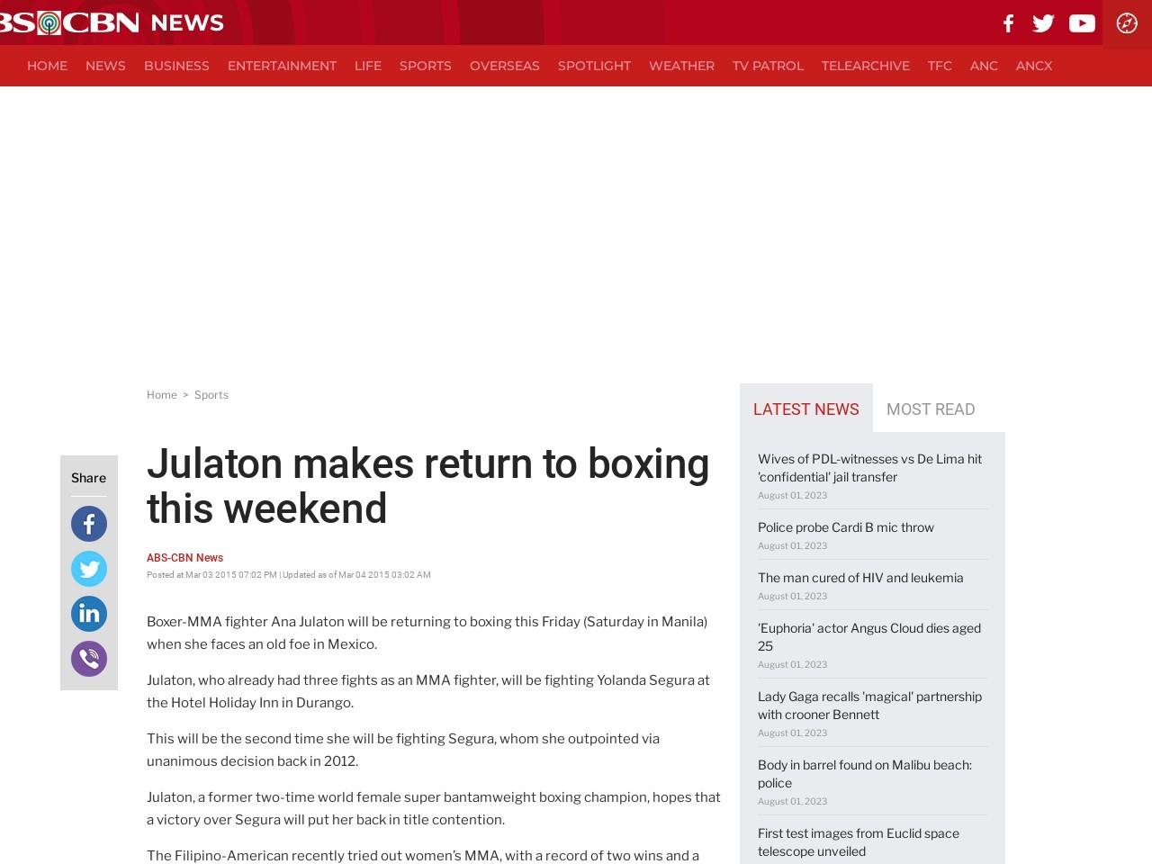 Julaton makes return to boxing this weekend