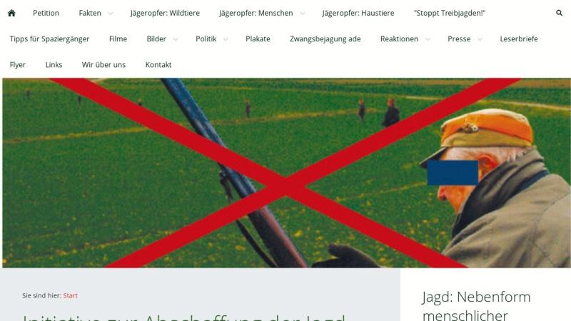 www.abschaffung-der-jagd.de Vorschau, Initiative zur Abschaffung der Jagd