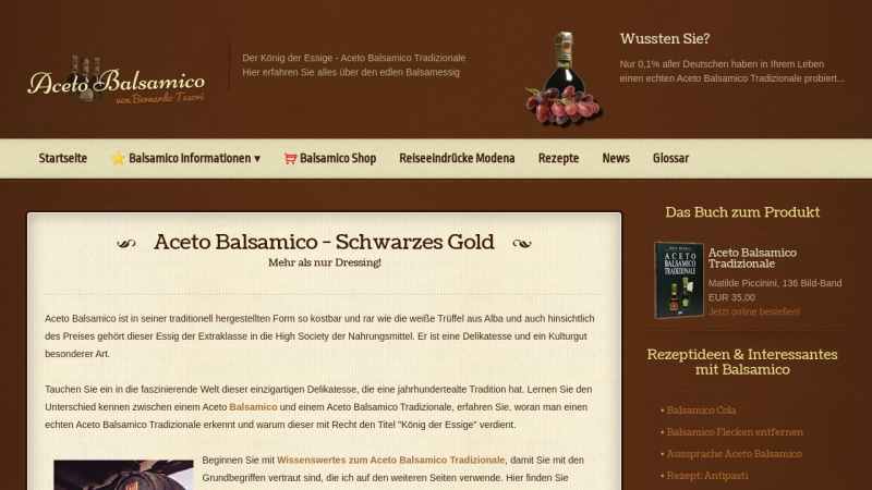www.acetobalsamico.de Vorschau, Aceto Balsamico Tradizionale - PAL Verlagsgesellschaft