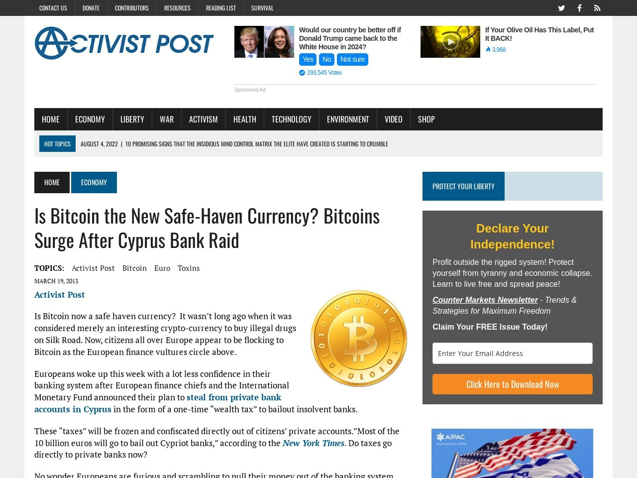Activist Post: Is Bitcoin the New Safe-Haven Currency? Bitcoins …