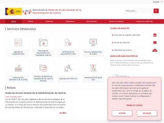Captura de pantalla para administraciondejusticia.gob.es
