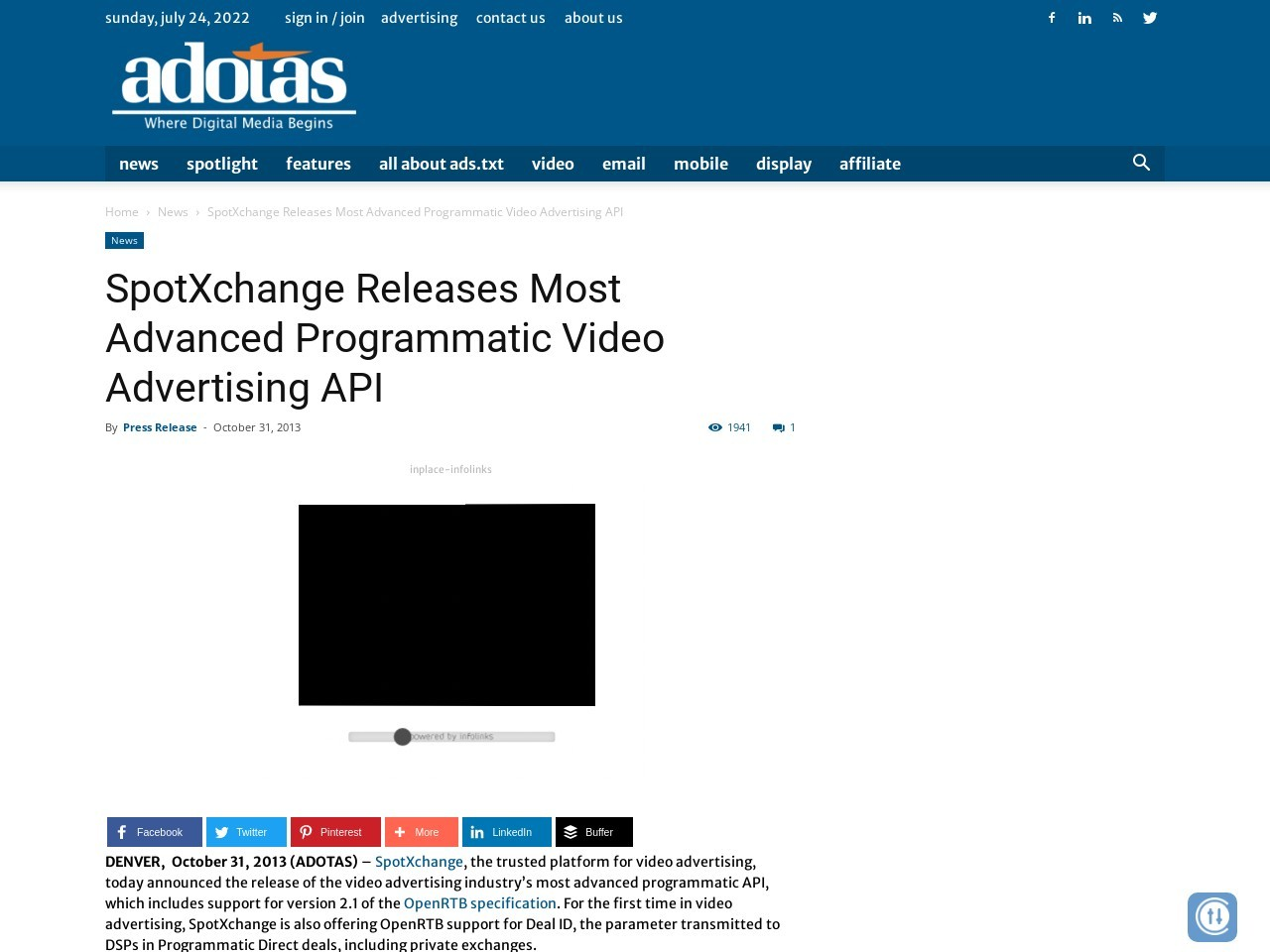 SpotXchange Releases Most Advanced Programmatic Video Advertising API