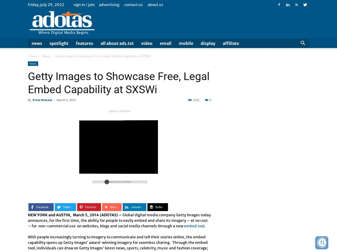 Getty Images to Showcase Free, Legal Embed Capability at SXSWi