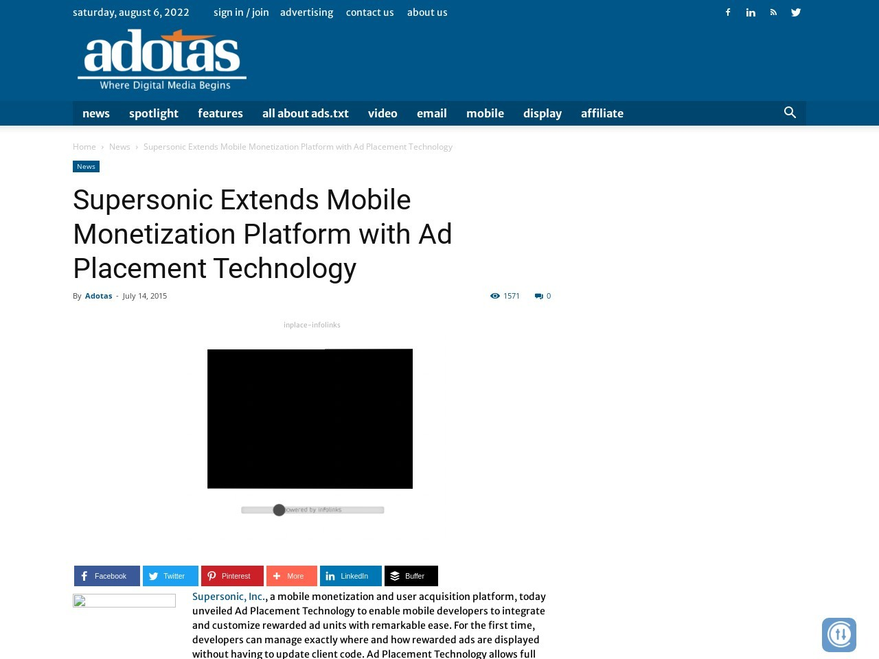 Supersonic Extends Mobile Monetization Platform with Ad Placement Technology