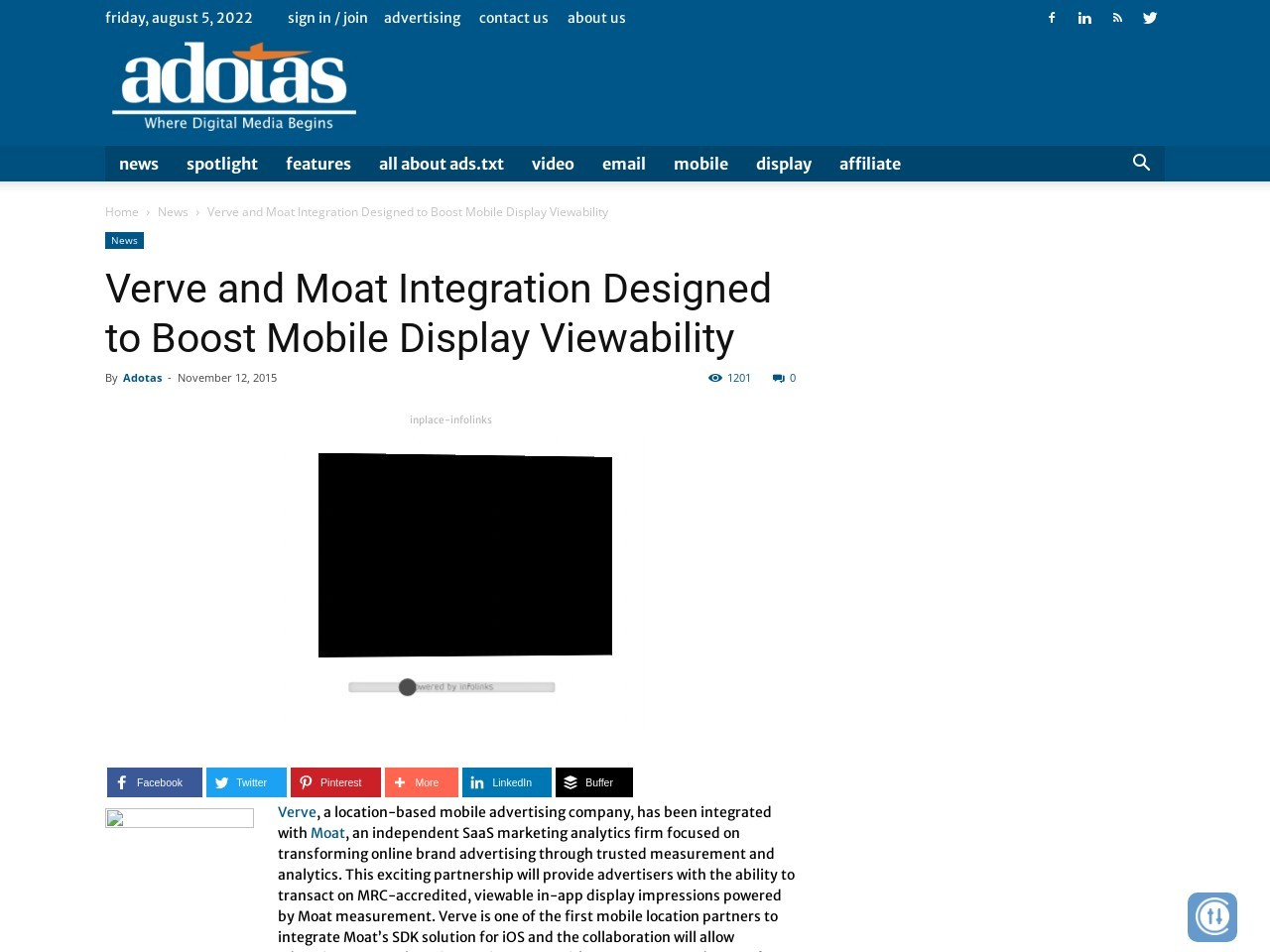 Verve and Moat Integration Designed to Boost Mobile Display Viewability