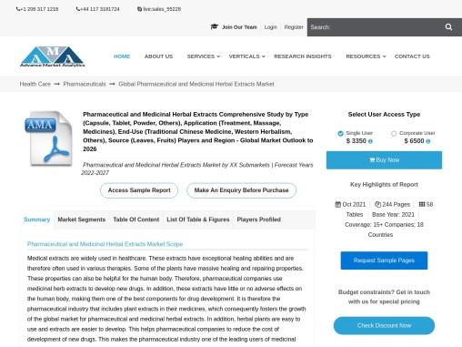 Pharmaceutical and Medicinal Herbal Extracts Market