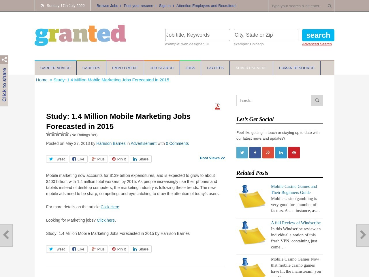 Study: 1.4 Million Mobile Marketing Jobs Forecasted in 2015