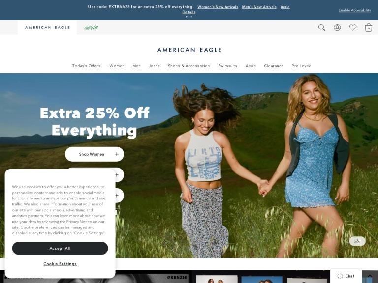 American Eagle Online Uk screenshot