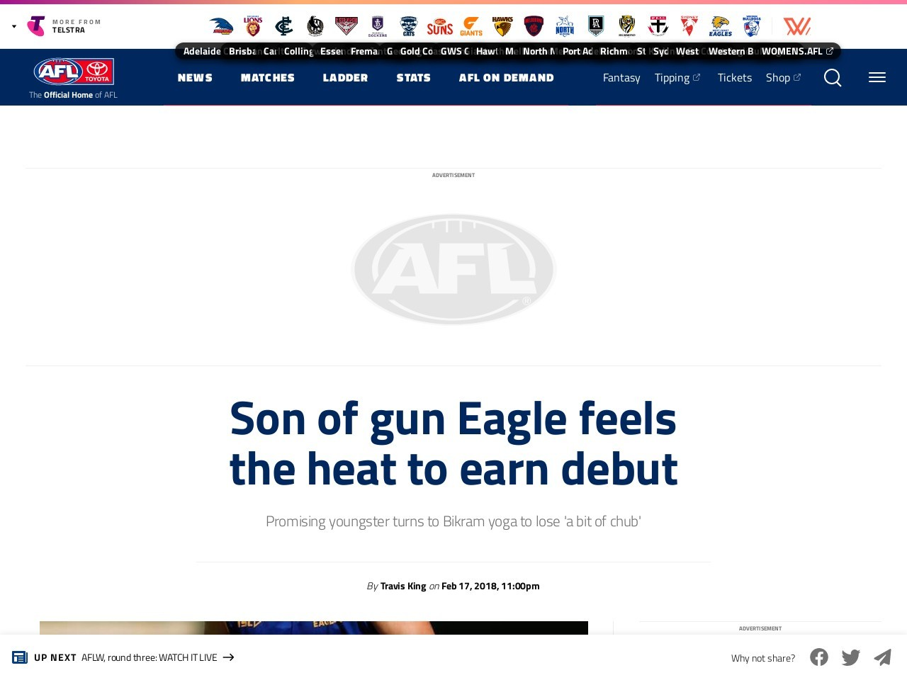 Son of gun Eagle feels the heat to earn debut