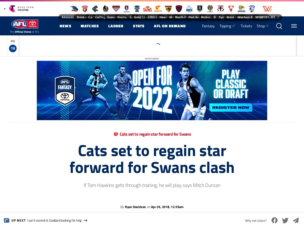 Cats set to regain star forward for Swans clash