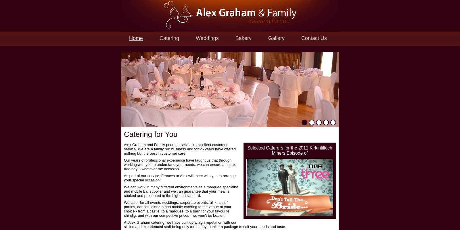 Preview of http://www.agrahamcatering.co.uk/