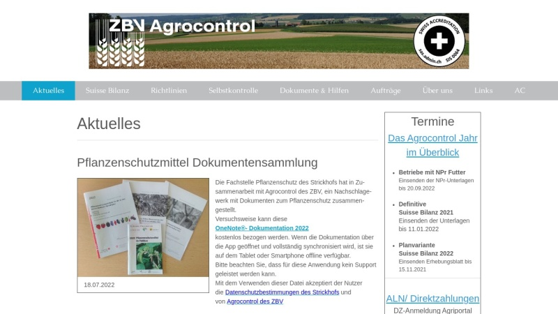 www.agrocontrol.ch Vorschau, Agrocontrol des ZBV