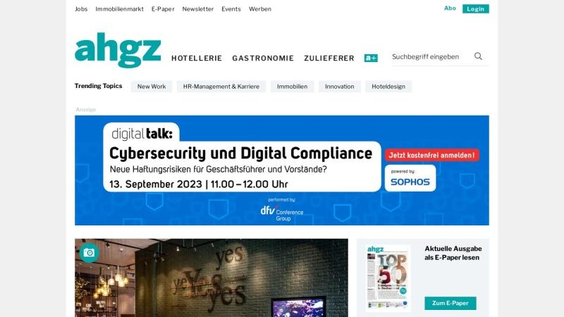 www.ahgz.de Vorschau, Allgemeine Hotel- und Gastronomie-Zeitung