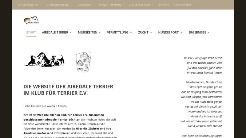 www.airedale-kft.de Vorschau, Airedale- Freunde und Züchter im Klub für Terrier e.V.