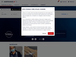Captura de pantalla para airfrance.cu