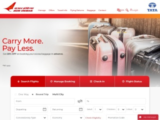 Screenshot for airindia.in