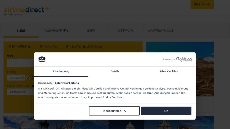 www.airline-direct.de Vorschau, Airline Direct