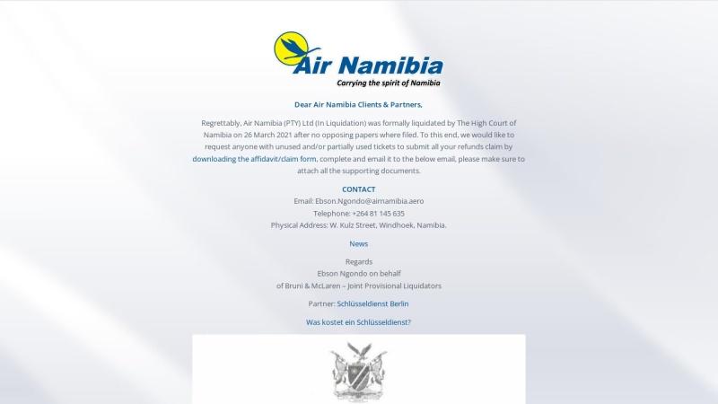 www.airnamibia.com Vorschau, Air Namibia