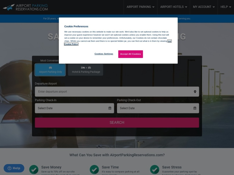 Airport Parking Reservations - point. click. park. screenshot