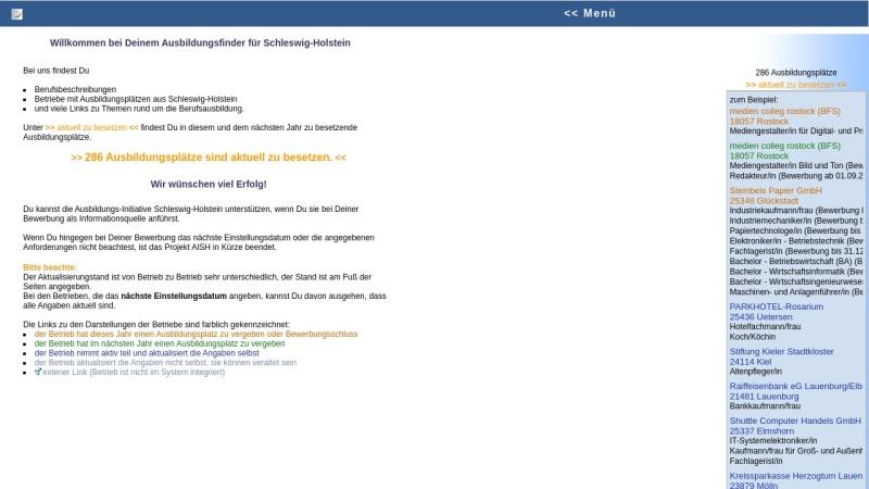 www.aish.de Vorschau, Ausbildungsplätze im Internet für Schleswig-Holstein (AISH)